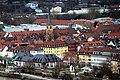 Würzburg, Blick von der Festung Marienberg zur Kirche St. Gertraud.jpg