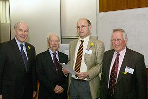 Wolfson Centre for Magnetics - Left to right: Dr David Grant (Vice-Chancellor of Cardiff University), Prof. Jack E. Thompson (first director of WCM from 1969 to 1990), Prof. David Jiles (director of WCM, from 2005 till present) and Prof. Anthony J. Moses (director of WCM from 1990 to 2005)