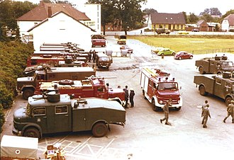 Celle Air Base - Fire engines of the Bundeswehr, the Bundesgrenzschutz and volunteers at the town Eschede