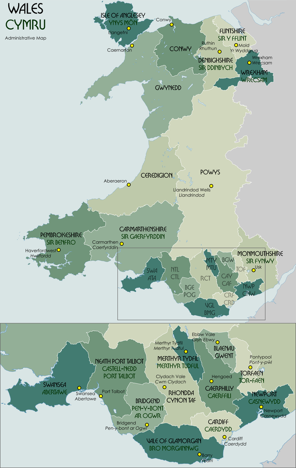 Wales Wikipedia - World map in welsh language