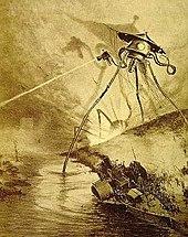 Rysunek. Wysoka trójnoga maszyna wystrzeliwuje promień, stojąc jedną nogą w wodzie.