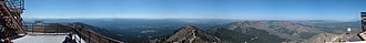 Mount Washburn - Panorama taken from the fire lookout tower on the summit of Mt. Washburn. The center of the image looks south towards the Teton Range.