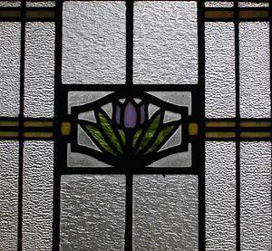 William J. Dodd -  Art glass window with tulip-lotus on water motif. T. Hoyt Gamble House, Louisville, KY (1912)