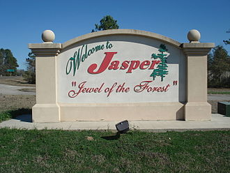 Jasper, Texas - Welcome sign coming in from US Hwy 190 West