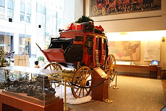 History of Wells Fargo - Stagecoach with Christmas gifts Wells Fargo Bank San Francisco