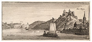 Oberwesel - a 17th-century engraving of Oberwesel by Wenceslas Hollar