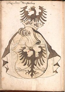 Arms of Maximilian I: a gold shield bearing a black eagle displayed with gold beak, talons and crown; the shield is surmounted by a golden barred helmet crowned with a gold open crown; a black eagle with a gold open crown is displayed in crest.