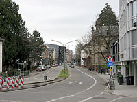Werthmannstraße in Freiburg nach Sperrung des Platzes der Universität (3).jpg