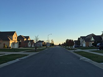 Munster, Indiana - West Lakes neighborhood, established in the late 1990s, is located directly east of the Lansing Municipal Airport.