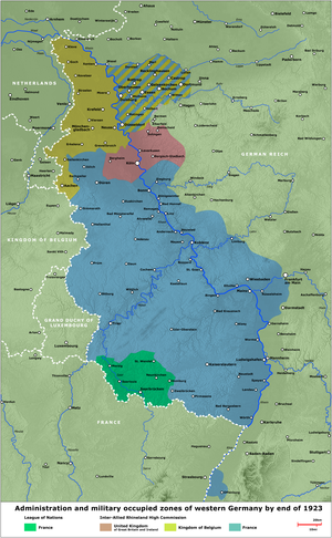 Rhenish Republic - The administrative and occupied zones of western Germany by the end of 1923.