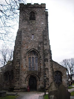 Whalley, Lancashire - Whalley St Mary and All Saints parish church tower