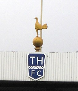 Since 1909, Tottenham have displayed the statue of a cockerel, first made in bronze by a former player White Hart Lane Jan 2008.jpg