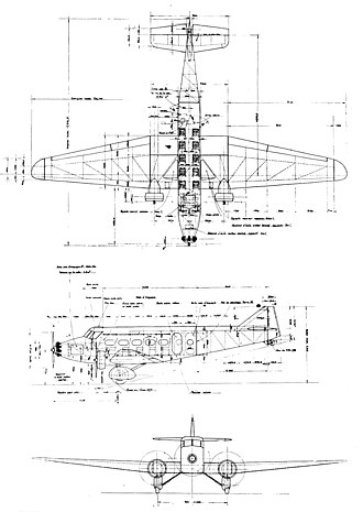 Wibault 280 - Wibault 282 T12 3-view drawing from L'Aerophile September 1933