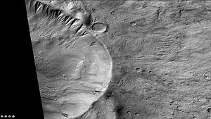 Slipher (Martian crater) - Gullies in crater on the rim of Slipher Crater, as seen by CTX camera (on Mars Reconnaissance Orbiter). Note: this is an enlargement of the previous image of Slipher Crater.
