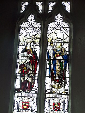 Guilsborough - Stained glass window in Guilsborough church displaying St Etheldreda (left) and St Wilfred (right)