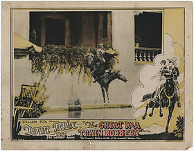 "William Fox presents Tom mix in ""The Great K&A Train Robbery"" with Tony Wonder Horse.-A crash - a shriek - and he plunged over the sandy precipice..jpg"