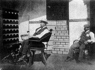 William Heise - William Heise (left) on the set of Edison's movie What Demoralized the Barbershop in 1897