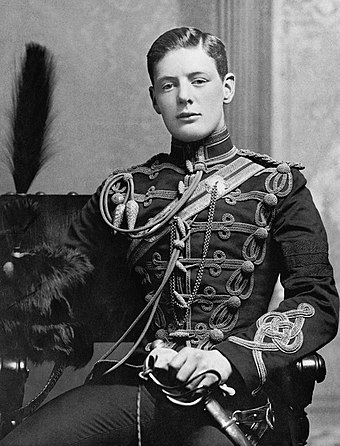 Churchill in the military dress uniform of the Fourth Queen's Own Hussars at Aldershot in 1895. Winston Churchill 1874 - 1965 ZZZ5426F.jpg