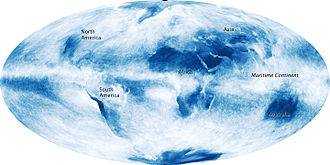 Cloud cover - Global cloud cover, averaged over the month of October, 2009. The image shows that the outlines of the continents can often be traced through observations of clouds alone, with the sharpest outlines where very dry land is surrounded by ocean.