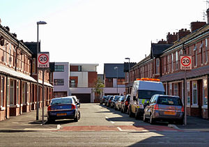 Moss Side - Wykeham Street with the Maine Place development in the background