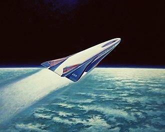 Rockwell X-30 - Artist's Concept of the X-30 entering orbit