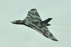 XH558 (G-VLCN) Avro Vulcan - Last Flight over Farnborough 11th October 2015.jpg