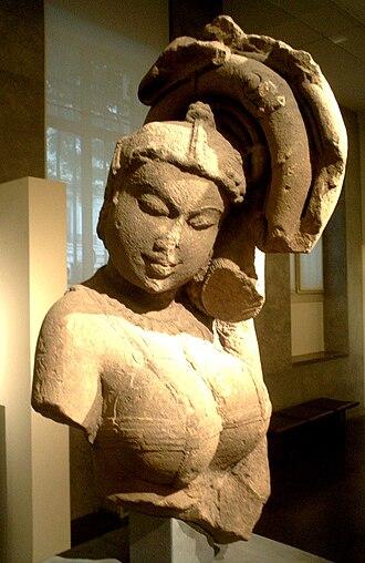 Yakshini - A Yakshin, 10th century, Mathura, India. Guimet Museum.