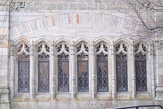 """Yale University Library - """"A Library is a summons to scholarship."""" Sterling Memorial Library, winter 2016."""