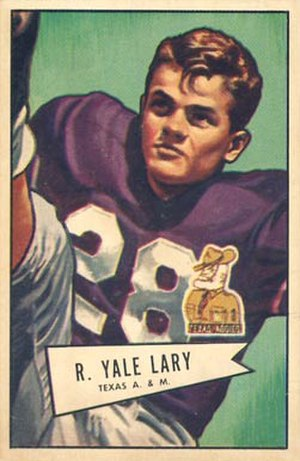 Yale Lary - Lary on a 1952 Bowman football card