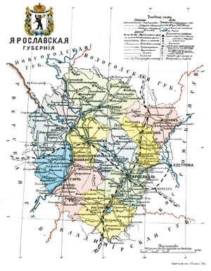 Ярославская губерния на карте