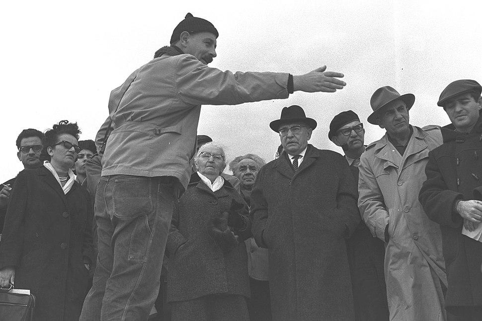 Yigael Yadin and Zalman Shazar at Massada 1964