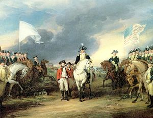 France in the American Revolutionary War - The British (center) surrender to French (left) and American (right) troops, at the Battle of Yorktown in 1781.