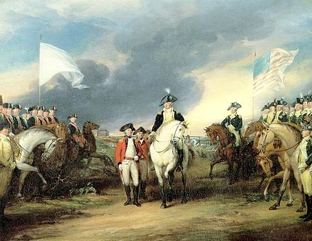 Surrender of Cornwallis to French (left) and American (right) troops, at the Siege of Yorktown in 1781, by John Trumbull Yorktown80.JPG