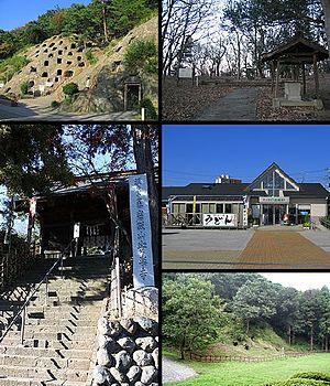 Yoshimi, Saitama - Clockwise from top left:Yoshimi Hundred Caves, Yoshimi Matsuyama Castle, Yoshimi road station, Kuroiwa Kofun, Yoshimi Anraku-ji
