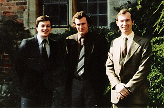 Conservative Monday Club - Three of the Young Members' Group at a Club Conference at Chilham Castle, 1980: John R. Pinniger (YMG Chairman), Richard Turnbull and Gregory Lauder-Frost.