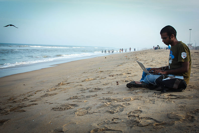 File:Yuvi working on beach 1.jpg