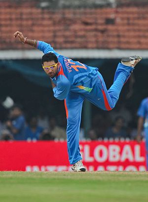 Yuvraj Singh - Yuvraj bowling in 2010.