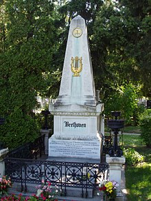 Ludwig van Beethoven's grave, Zentralfriedhof (Central Cemetery), Vienna, Austria.