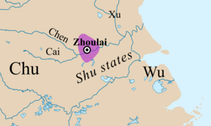 Zhoulai - Zhoulai in the early 7th century BC. Borders are approximate.