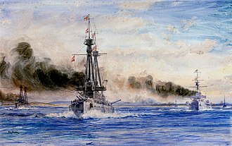 Battle of the Falkland Islands - Invincible and Inflexible steaming out of Port Stanley in chase, a painting by William Lionel Wyllie