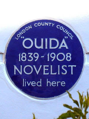 Ouida - Blue plaque erected in 1952 by London County Council at 11 Ravenscourt Square, Hammersmith, London W6