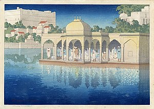 Maghrib prayer - Image: 'Prayers at Sunset, Udaipur, India', woodblock print by Charles W. Bartlett, 1919, Honolulu Academy of Arts