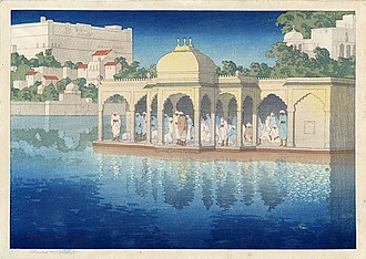 Charles W. Bartlett - Prayers at Sunset (Udaipur, India), c. 1919, woodblock print