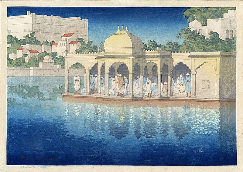 File:'Prayers at Sunset, Udaipur, India', woodblock print by Charles W. Bartlett, 1919, Honolulu Academy of Arts.jpg