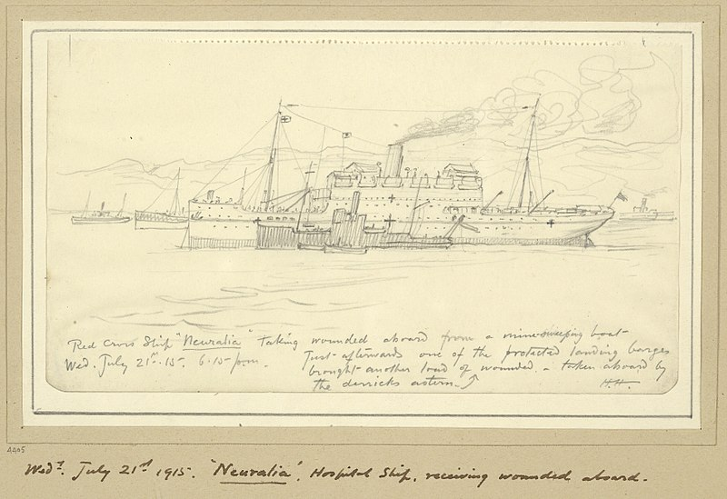 File:'neuralia', Hospital Ship, Receiving Wounded Aboard, 6.15pm, July 21st 1915 Art.IWMART4405.jpg