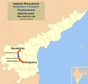 (Nandyal - Kadapa) Passenger route map.png