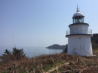 Ōshima (Aomori) - Ōshima lighthouse with Mutsu Bay in the background