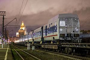 Strizh (train) - Image: Вагоны Talgo на Киевском вокзале