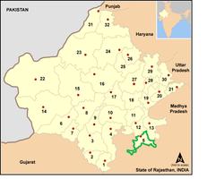రాజస్థాన్ రాష్ట్రంలో ఝలావర్ జిల్లా స్థానం