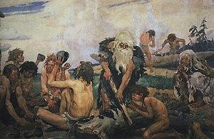 Isang paglalarawan ng mga taong namumuhay noong Panahon ng Bato .
